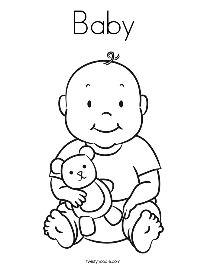 Baby coloring page twisty noodle Baby Stroller Coloring Pages Baby Booties Coloring Pages Coloring Page Welcome Baby Sign