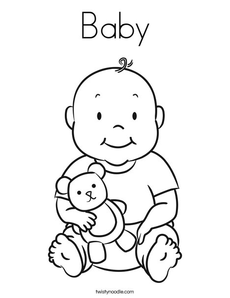 Baby Coloring Page - Twisty Noodle