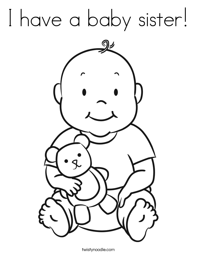 I have a baby sister! Coloring Page