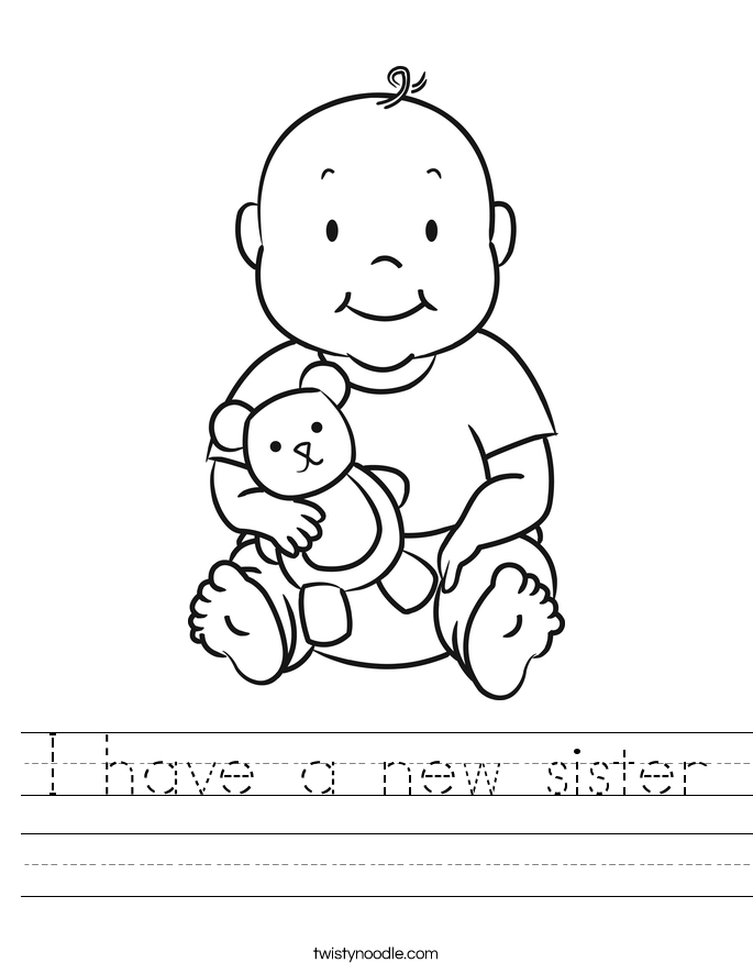 I have a new sister Worksheet