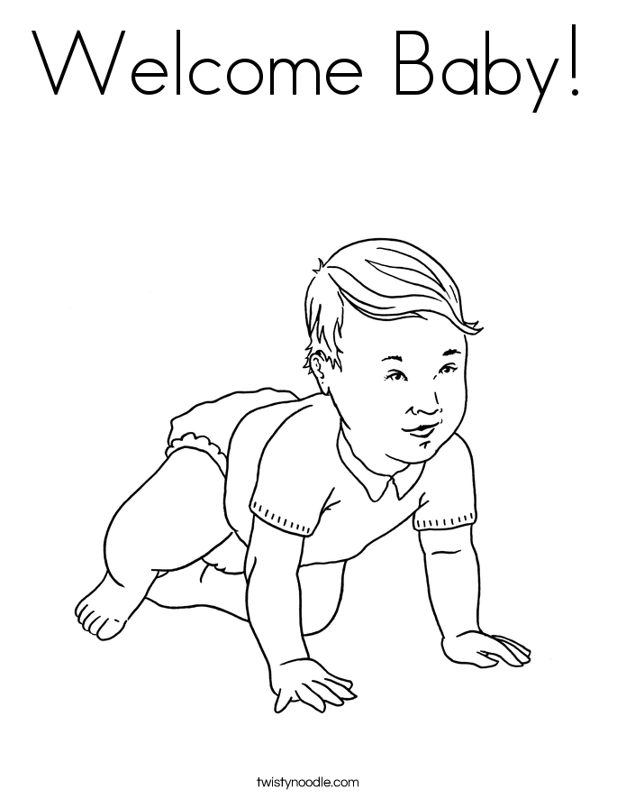 Welcome baby coloring page twisty noodle Baby Clothes Coloring Pages welcome home baby coloring pages Welcome Baby Poems