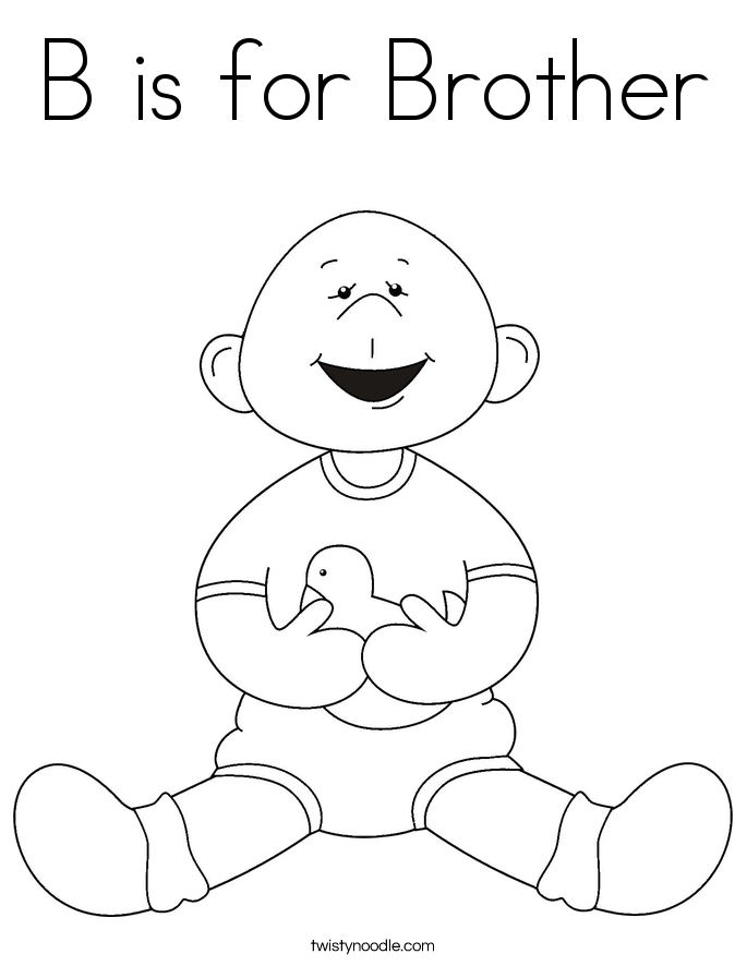 B is for Brother Coloring Page