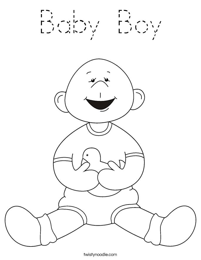 Baby Boy Coloring Page Tracing