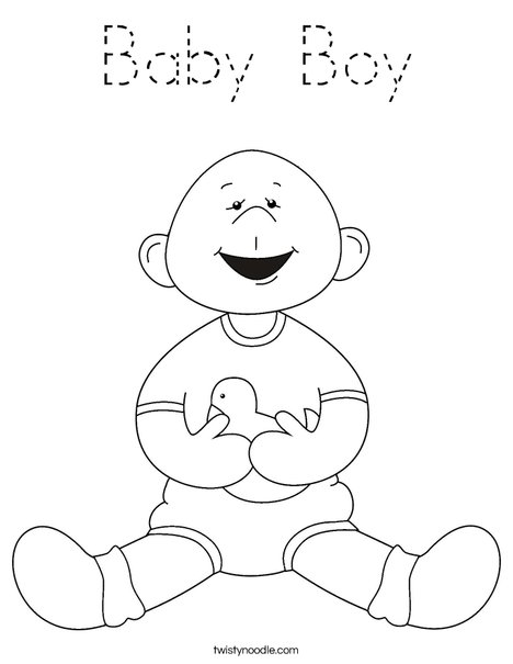 Baby Boy Coloring Page - Tracing - Twisty Noodle