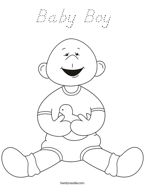 Baby Boy with Ducky Coloring Page
