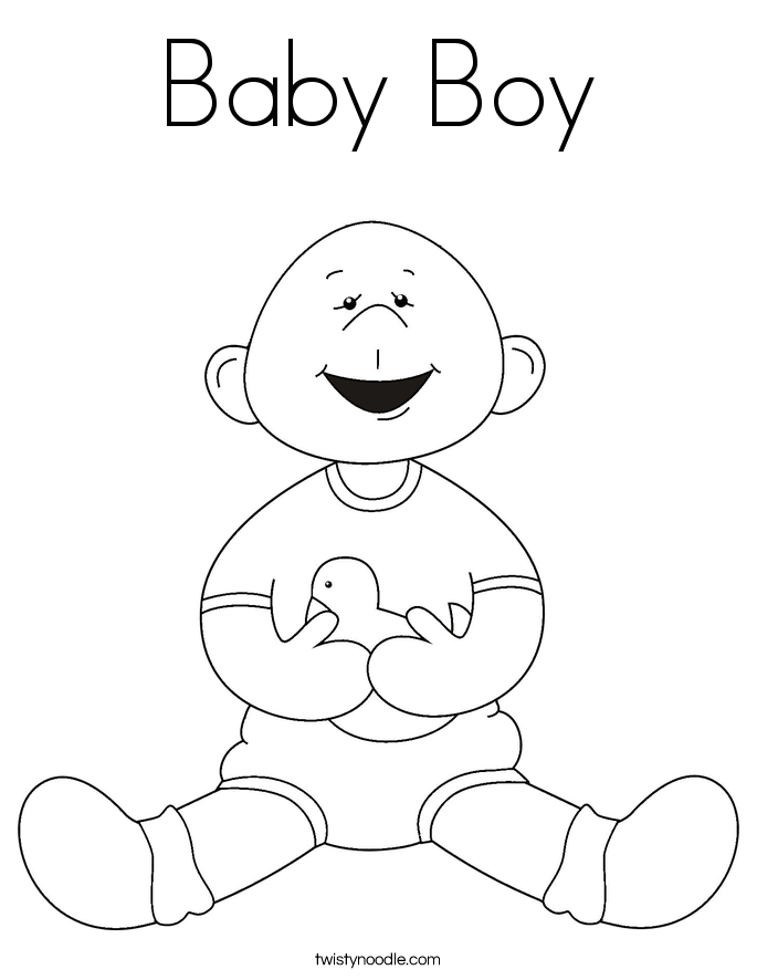 Baby Boy Coloring Page Twisty Noodle