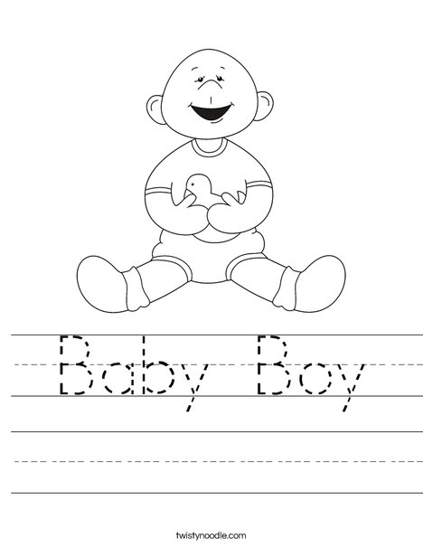 Baby Boy with Ducky Worksheet