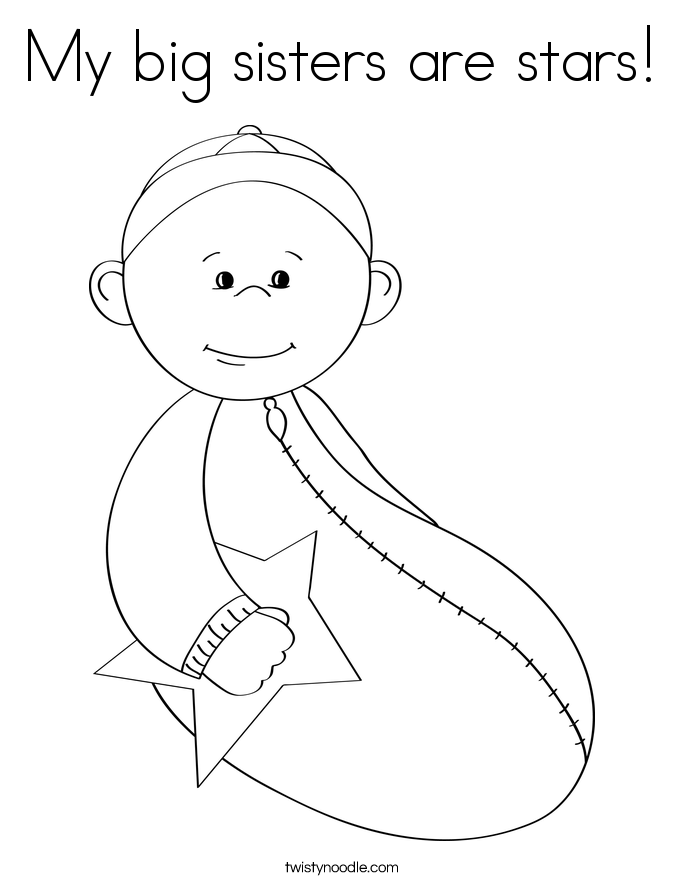 My big sisters are stars! Coloring Page