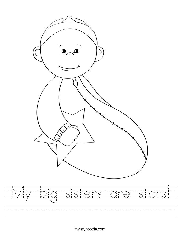 My big sisters are stars! Worksheet