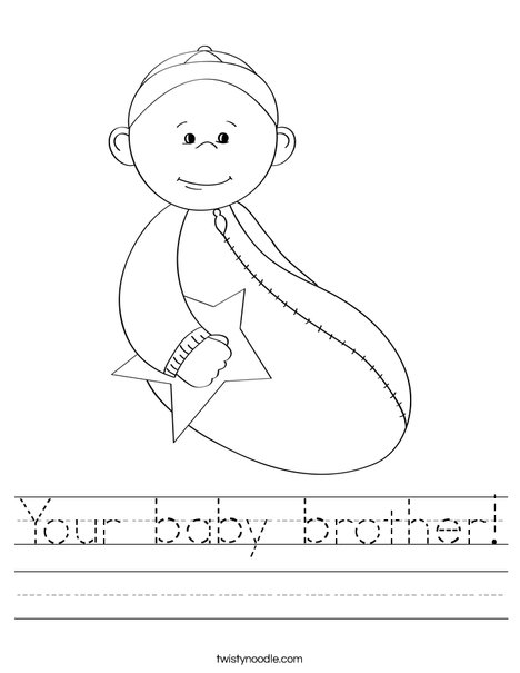 Baby boy with Star Worksheet