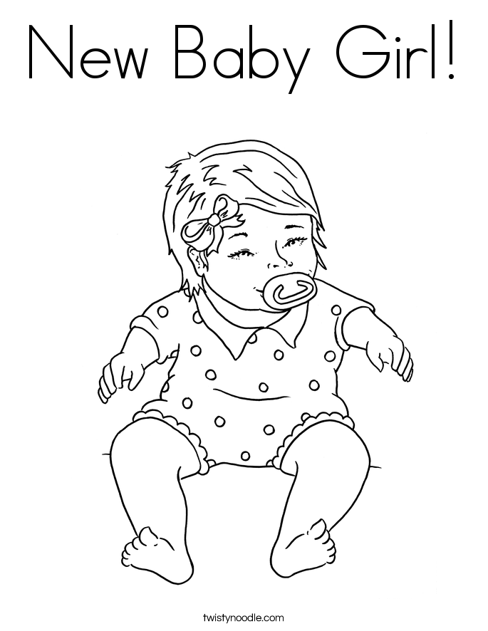 New Baby Girl Coloring Page - Twisty Noodle