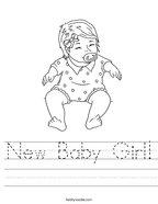 New Baby Girl Handwriting Sheet