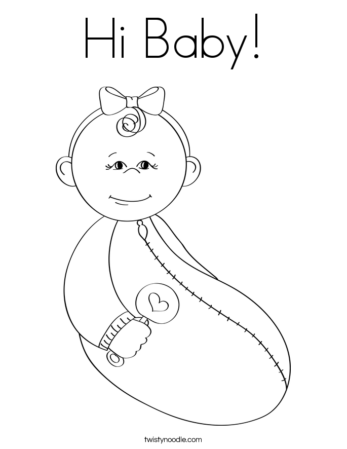 New baby coloring pages twisty noodle Welcome Sign Coloring Page Welcome Coloring Sheet cute baby coloring pages