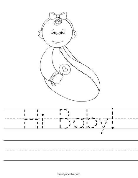 Baby Girl with Rattle Worksheet