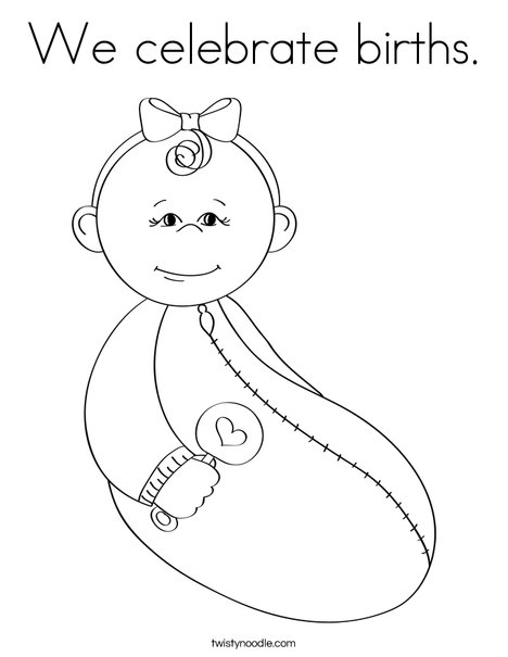 Baby Girl with Rattle Coloring Page