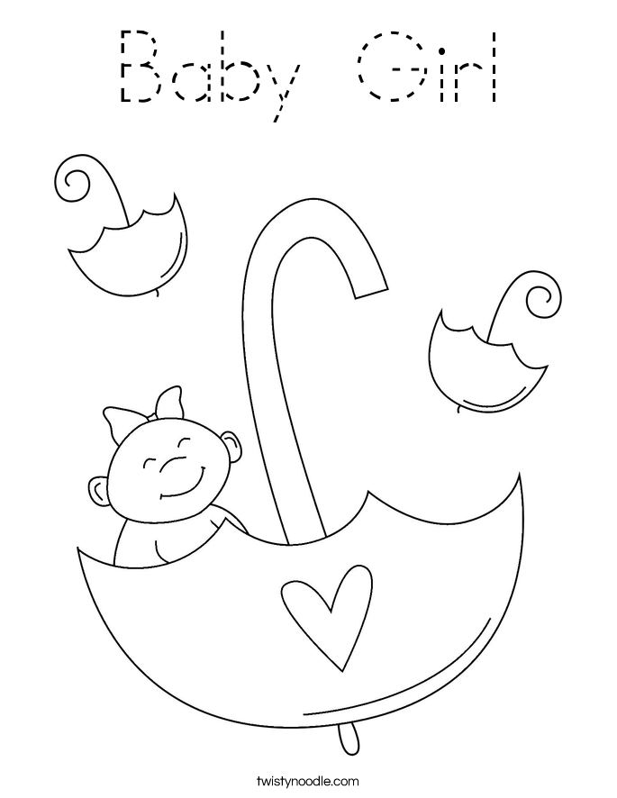 Baby Girl Coloring Page - Tracing - Twisty Noodle