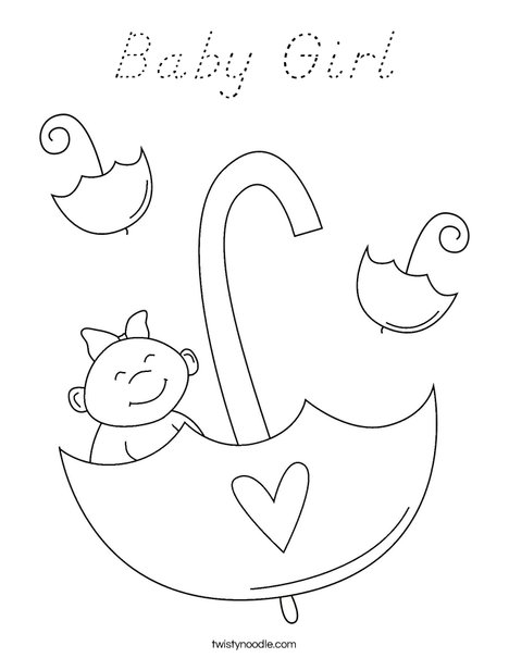 Baby Girl with Umbrella Coloring Page