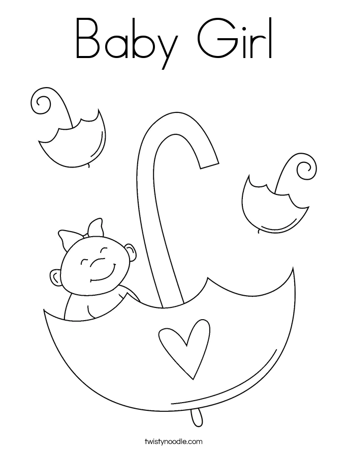 Baby Girl Coloring Page Twisty Noodle