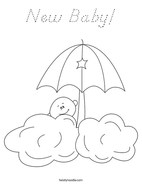 Baby in the clouds Coloring Page