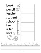 Back to School ABC Order Handwriting Sheet