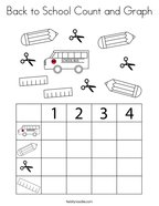 Back to School Count and Graph Coloring Page