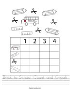 Back to School Count and Graph Handwriting Sheet