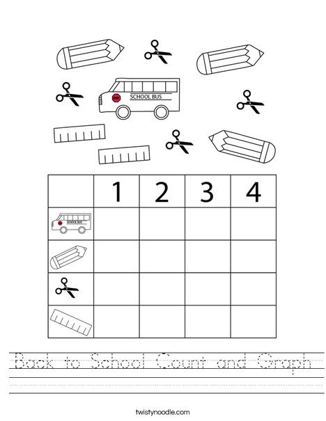 Back to School Count and Graph Worksheet