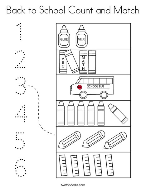 Back to School Count and Match Coloring Page