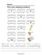 Back to School Counting Handwriting Sheet