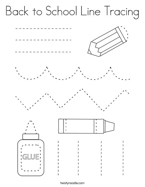 Back to School Line Tracing Coloring Page