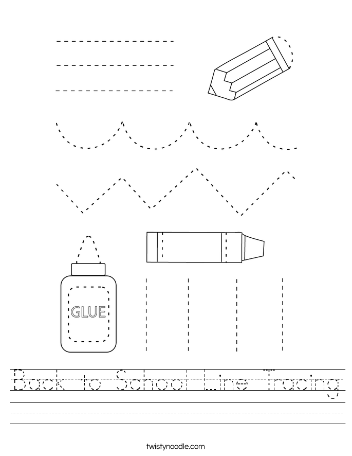 Back to School Line Tracing Worksheet