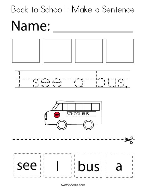Back to School - Make a Sentence Coloring Page