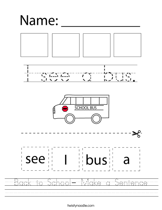 Back to School- Make a Sentence Worksheet