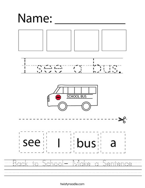 Back to School - Make a Sentence Worksheet