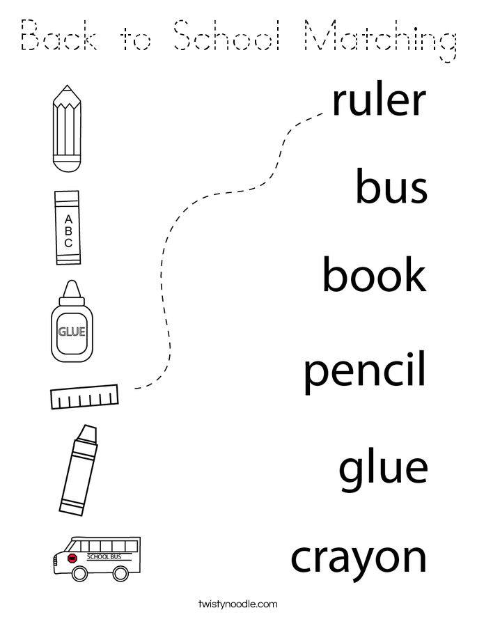 Back to School Matching Coloring Page - Tracing - Twisty ...