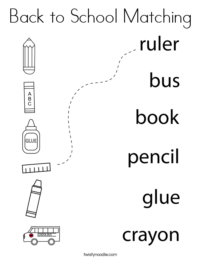 Back to School Matching Coloring Page