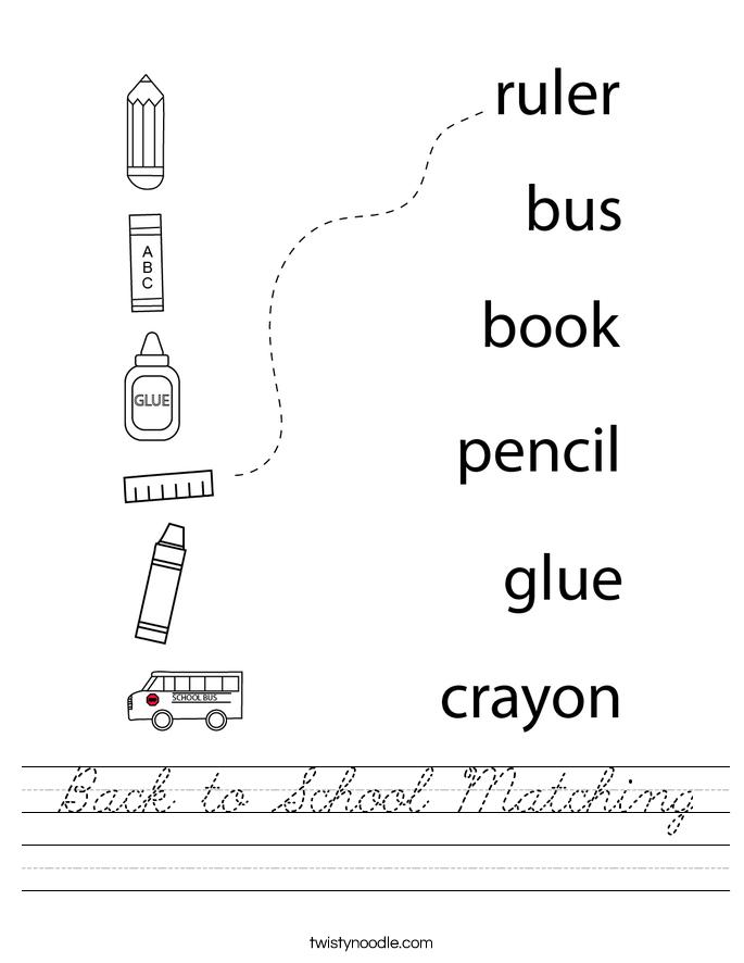 Back to School Matching Worksheet