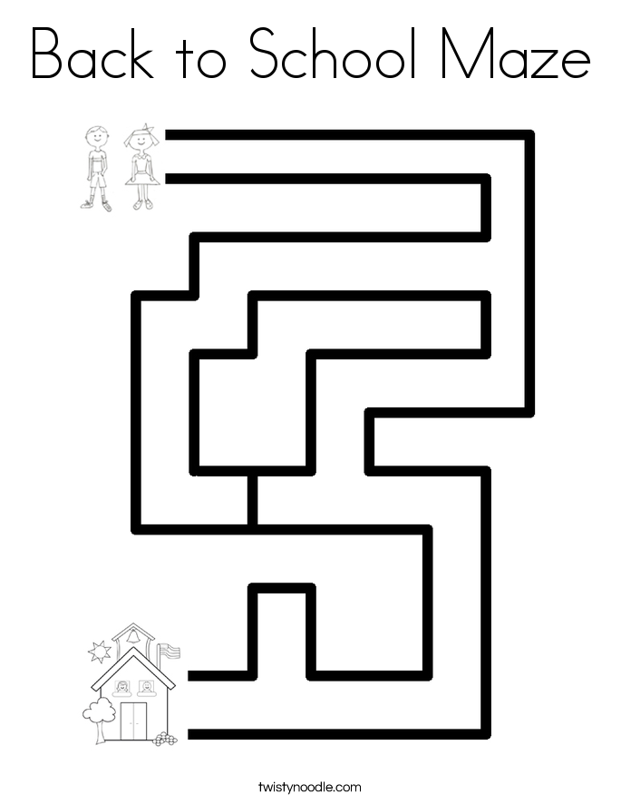 Back to School Maze Coloring Page