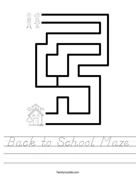 Back to School Maze Worksheet