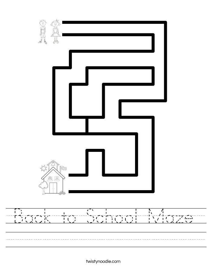 back to school maze worksheet twisty noodle. Black Bedroom Furniture Sets. Home Design Ideas