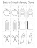 Back to School Memory Game Coloring Page