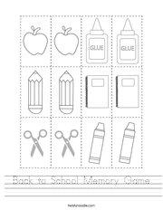 Back to School Memory Game Handwriting Sheet