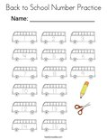 Back to School Number Practice Coloring Page