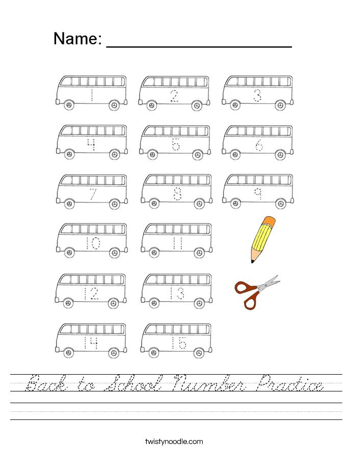 Back to School Number Practice Worksheet