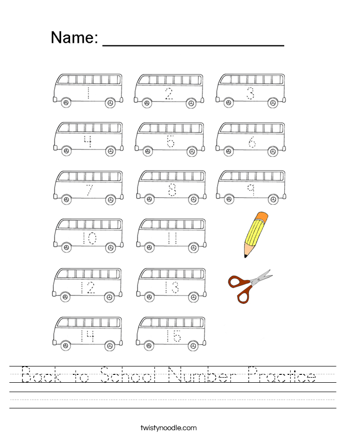 Back to School Number Practice Worksheet