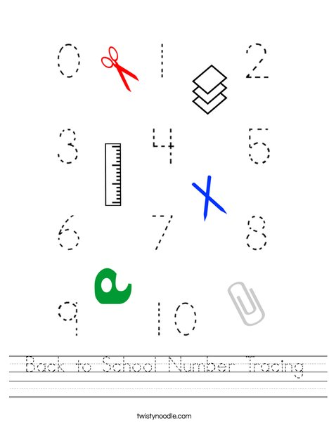 Back to School Number Tracing Worksheet