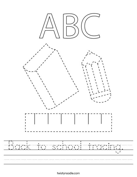 Back to school tracing. Worksheet