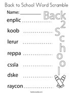 Back to School Word Scramble Coloring Page