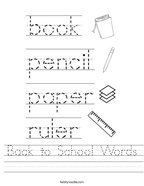 Back to School Words Handwriting Sheet