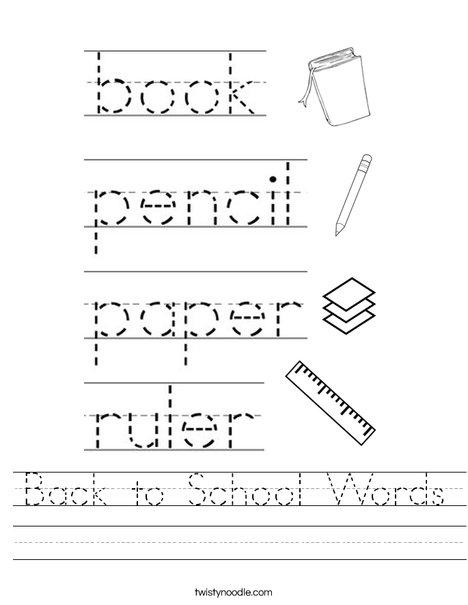 Back to School Words Worksheet
